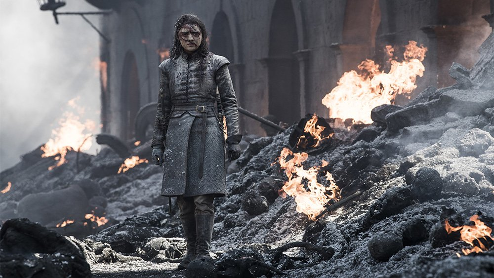 Arya in the rubble